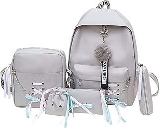 Bageek 5PCS Womens Backpack Set School Backpack Shoulder Bag Pouch Set