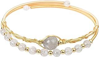 CUSTZ Natural Crystal Cuff Bracelet Wire Wrapped Bracelet for Women and Girls (js000070)