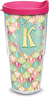 Tervis 1321857 INITIAL-K Multicolored Scallop Insulated Travel Tumbler with Wrap and Fuchsia Lid, 24oz - Tritan, Clear