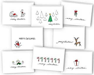 Merry Christmas Greeting Cards Collection - 24 Cards & Envelopes