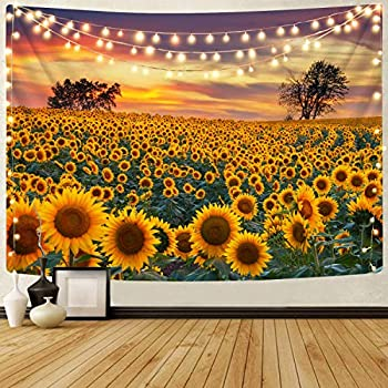 KYKU Sunflower Tapestry Wall Hanging Sunset Sunflowers Field Tapestry Golden Yellow Sunflowers Tapestries Warm Yellow Floral Plant Tapestry For Living Room Dorm Decor  51.2 H x 59.1 W Sunflower