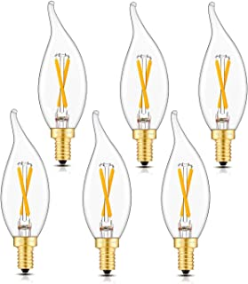 Wuhostam Dimmable LED Filament Candle Light Bulb, 2W 2500K Warm White, Brighter Than 200LM, E12 Candelabra Base Lamp, Clear Glass CA11 Torpedo Shape Bullet Top, 25W Incandescent Replacement, 6 Pack