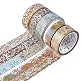 CRASPIRE 5 Rolls Gold Washi Tape Set 15mm Wide Foil Masking Decorative Tape Japanese Decorative Writable Masking Tape for DIY Craft Planners Scrapbooking Gift Wrapping