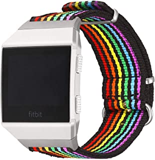 Bandmax Compatible for Rainbow Nylon Fitbit Ionic Bands,LGBT Pride Breathable Replacement Watch Band Sport Strap Accessories with Adjustable Steel Buckle Compatible Fitbit Ionic Smart Watch