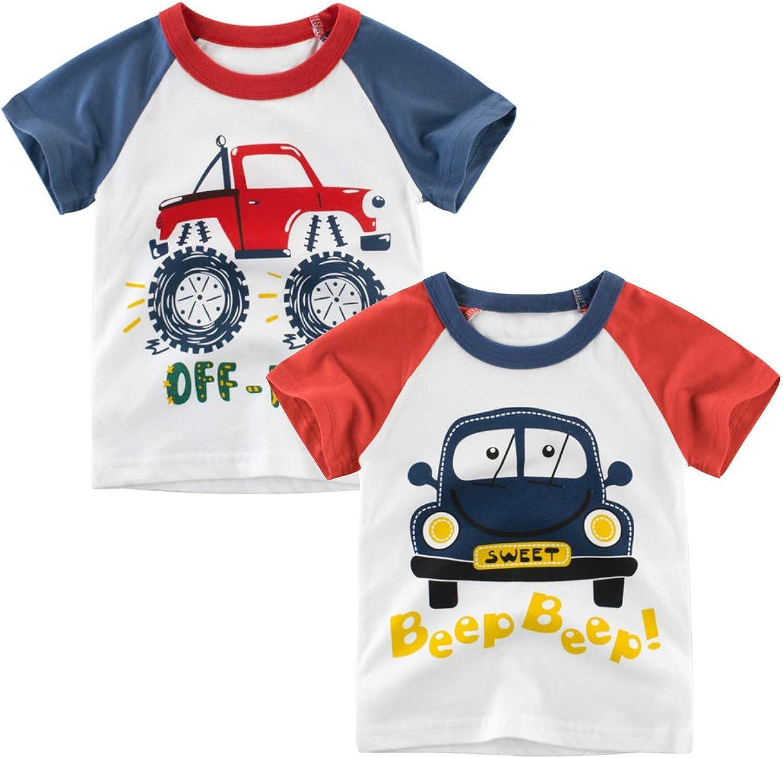 Jagrove Toddler Little Boys T Shirts 2 Pack Short Sleeve Crewneck Top Tee Dinosaur Car Shark Shirts for 2-7 Years