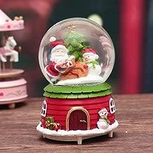 Christmas Snow Globe Music Box Caja musical giratoria de Santa Claus con copos de nieve cayendo Música para regalos de decoración navideña