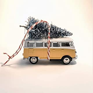 Yellow VW Van Christmas Ornament with Tree on Top