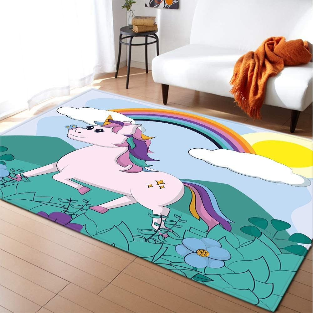 17 Max 80% OFF Styles Selling and selling Unicorn 3D Printed Child Living Bedro Carpets Room for
