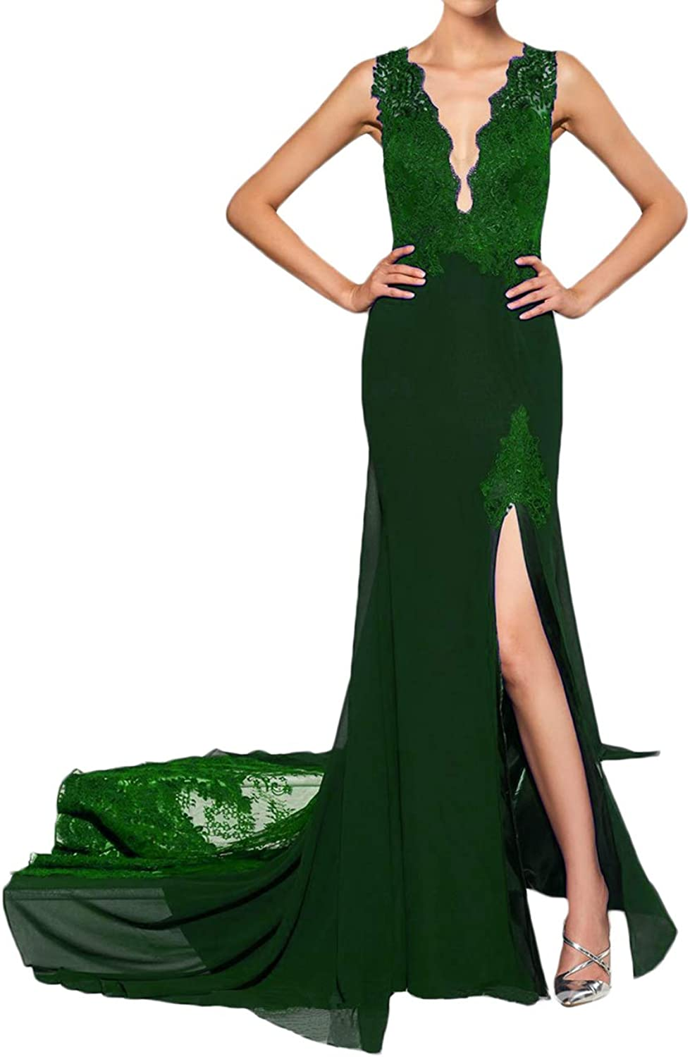 Alilith.Z Sexy Plunging V Neck Prom Dresses 2019 Mermaid Appliques Lace Long Formal Evening Dresses for Women with Slit