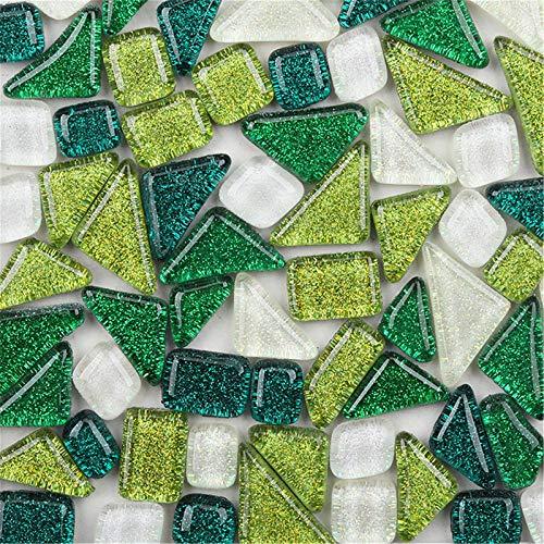 Azulejos de mosaico de 200 g, colores mezclados brillo mosaico piezas de cristal a granel, varios cuadrados y triángulos con purpurina para decoración del hogar o manualidades (7)