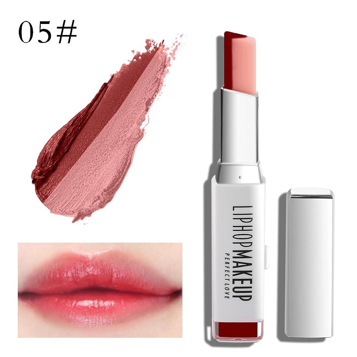 セットアップピストンディレイ1 PC Popular Waterproof Women Multicolor New Two Tone Lipstick #5