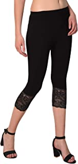 Women Cotton Spandex Capri with Lace Inset at Bottom Hem