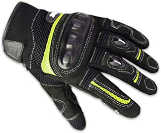 Motorcycle Riding Gloves,Breathable Mesh Anti-Slip Touchscreen Full Finger Gloves for Men/Women from LAFIRE(L, Green)