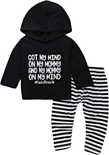 Infant Baby Boy Girl Hoodie Outfits Set Letters Hooded Black Tops+Striped Pants