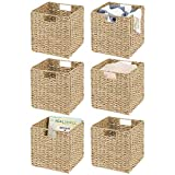 mDesign Natural Woven Seagrass Closet Storage Organizer Basket Bin - Collapsible - for Cube Furniture Shelving in Closet, Bedroom, Bathroom, Entryway, Office - 10.5' High, 6 Pack - Natural/Tan