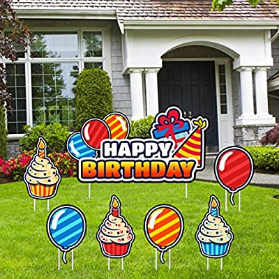 Y2 Happy Birthday Yard Signs with Stakes   Bright and Colorful Outdoor Birthday Party Decorations   Premium Weatherproof Set Includes: Happy Birthday Lawn Sign, 3 Cupcakes, 3 Balloons and 14 Stakes