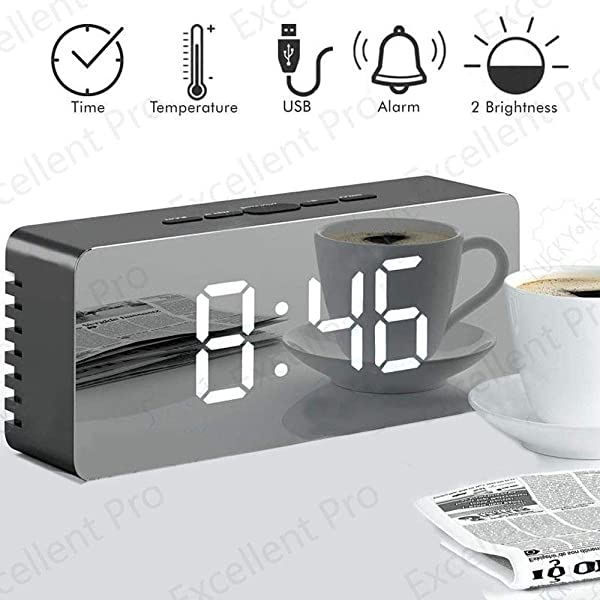 Alarm Clock LED Mirror Display Digital Alarm Clock With Dimmer Snooze Temperature Function For Bedroom Office Travel