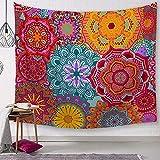Arazzo Da Parete Rosso Giallo Blu Mandala Hippie Per Camera Da Letto Room Wall Hanging Tappetino Da Picnic Telo Da Spiaggia Copriletto Divano Coperta Grande Panno Di Sfondo 150*200Cm