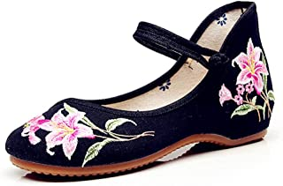 Women's Embroidered Shoes Fashion Black Flat Shoes Breathable Casual Cloth Shoes Elegant Wedding Shoes (Color : Black, Size : 36)