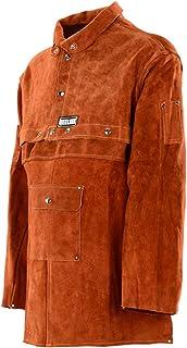QeeLink Leather Welding Work Apron with Sleeve - Heavy Duty Leather Flame Resistant Welding Jacket | Blacksmithing Apron