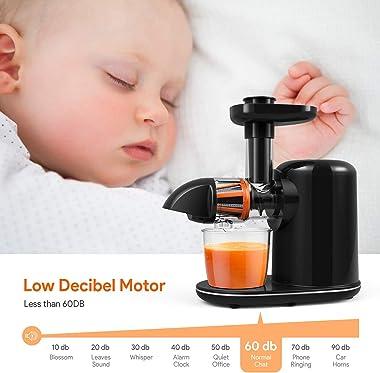 Juicer Machines, Bagotte Masticating Juicer, 150-Watt, Higher Juice Yield and Drier Pulp, Cold Press Juicer Machine Easy to U