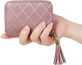 Women's RFID Blocking 15 Slots Card Holder Leather Zipper Accordion WalletDark Pink