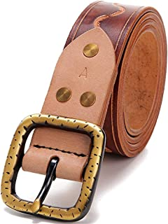 Women's Handmade Leather Belt With Suede Leather Pin Buckle Pure Copper Buckle Belt (Color : Brown)