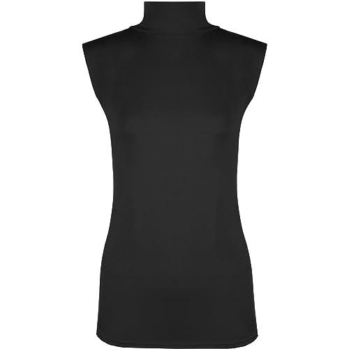 7665d7f2b12df WearAll Womens Plus Size Plain Turtle Neck Sleeveless Ladies Top - Sizes  16-22