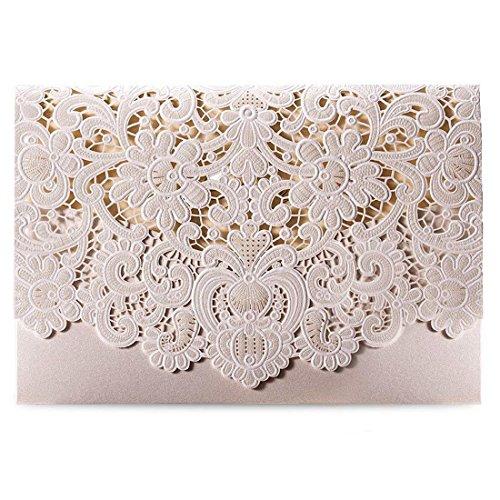 Wishmade 50 Stücke Einladungskarten Hochzeit Weiß Spitze Lasercut Mit Hohlen geprägte Flora Einladung Cardstock Für Bridal Shower Umschläge (Satz von 50pcs)