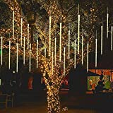 JBZP LED Meteor Shower Lights-wasserdichte Regentropfenlichter Garten Deko Lichterketten mit 80cm 8 Röhren 144LEDs, Kaskadenlichter für Partyhochzeit Weihnachtsbaum Terrassendekoration gelb