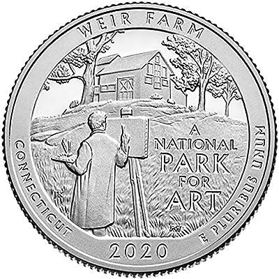 2020 P, D 2 Bankrolls of 40 - Weir Farm National Historic Site Quarter Uncirculated
