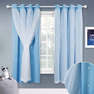 NICETOWN Short Princess Window Curtains - Mix & Match Elegance White Voile x Cosmic Star Themed Blackout Curtain with Tie-Backs for Bedroom (Blue, W52 x L63/Per Panel, Set of 2)