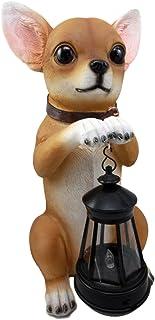 "Atlantic Collectibles Deer Head Mexican Aye Chihuahua Dog Garden Patio Figurine W/Solar LED Light Lantern Lamp 14""H"
