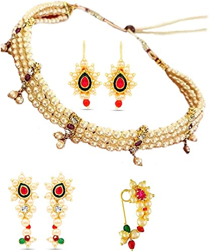 Fashions Tanmani choker Necklace Earrings Press Bugadi Marathi Nath maharashtrian jewellery traditional Pearl necklace set For women Girls