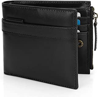 Wallet for Men-Genuine Leather RFID Blocking Bifold Stylish Wallet With Zipper (Birthdays, Anniversaries, Father's Day Gift)