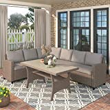 Merax Outdoor Patio Furniture Set, Rattan Wicker Patio Sectional Sofa, Garden Poolside Backyard Conversation Set with Cushions (Brown)