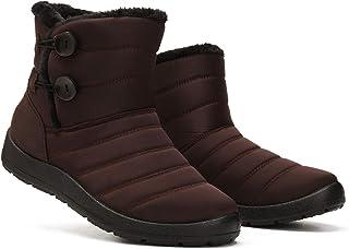 Camfosy Botas de Invierno para Mujer, Botas de Nieve Botas Impermeables con Botones Lluvia después de Esquiar Zapatos de P...