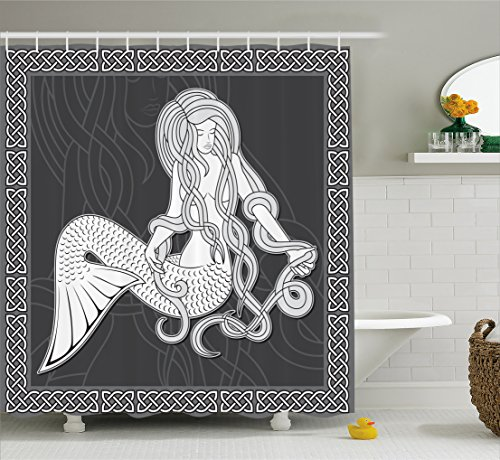 Ambesonne Mermaid Shower Curtain, Retro Art Illustration of a Mermaid Brushing Hair and Border with Celtic Patterns, Cloth Fabric Bathroom Decor Set with Hooks, 70' Long, Grey