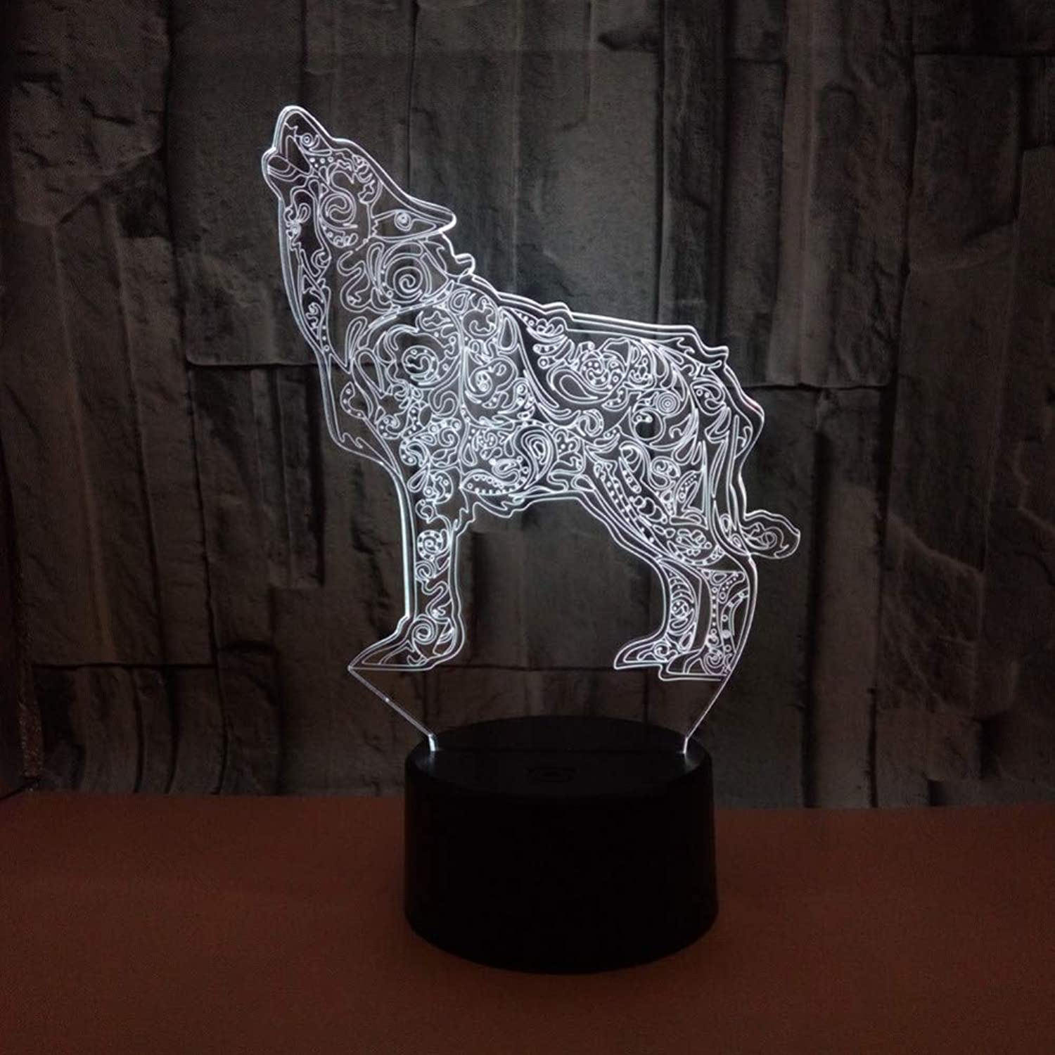 KAIYED 3D Night Light New Wolf 3D Acrylic Lamp 3D Visual Small Desk Lamp Table Lamps for Living Room Night Light