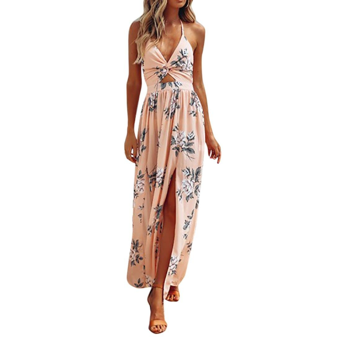 Available at Amazon: Women Sexy Halter Neck Sleeveless Printing Split Sandy Backless Camisole Beach Long Dress (L Pink)
