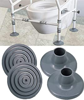 Toilet Chair Safety Replacement Feet - Shower Stools and Transfer Bench Anti-Slip Cap Mat for Elderly Disable, Grey, 4 Pcs