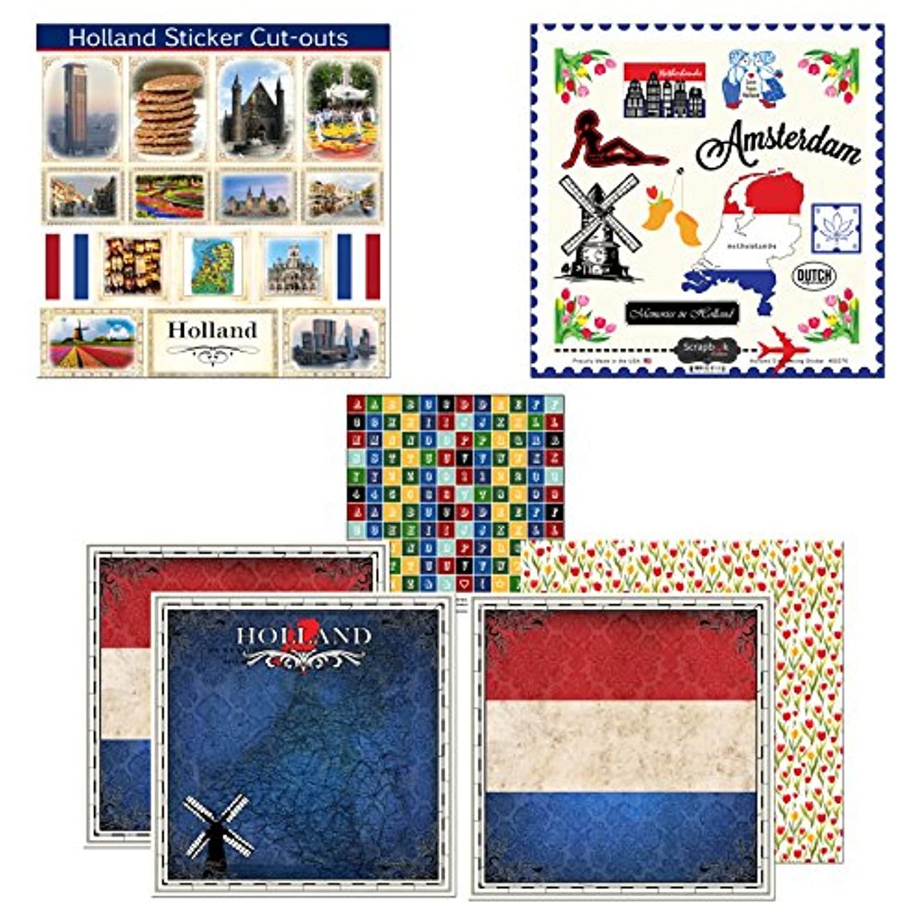 Scrapbook Customs Themed Paper and Stickers Scrapbook Kit, Holland Sightseeing