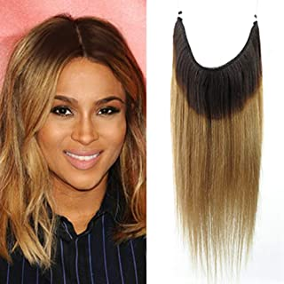 Remeehi Straight Invisible Wire Hair Extensions Wire Hidden Hairpieces Fish Line No Clip No Glue No Damage in Hair Extensions Dark Color