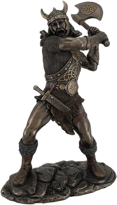 Bronze Finish Viking Warrior Wielding Ax Statue Sculpture