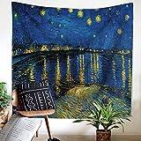 Wandteppich, Motiv: Sternennacht über der Rhone, klassisches Ölgemälde, Vincent Van Gogh, Bohemian-Wandteppich, indischer Heimdekoration für Schlafzimmer, Wohnheim, Wohnzimmer, 149,9 x 129,5 cm