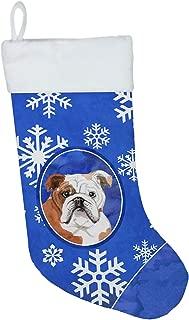 Caroline's Treasures CK3953CS Winter Snowflakes English Bulldog Christmas Stocking, Large, Multicolor