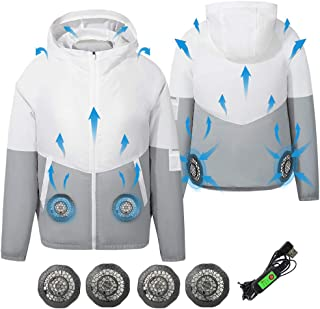 ARRIS Fan Equipped Clothing, UV Resistant Cooling Jacket for Men, 5V USB powered Air Conditioned Coat for Summer High Temp...