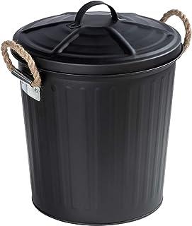 WENKO Poubelle Gara Noir - Poubelle couvercle amovible Capacité: 6 l, Acier, 24 x 28.5 x 23 cm, Noir