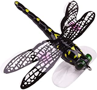 Fiaya 3D Eyes Fishing Lure Jumping Lure Dragonfly Topwater Lure 70mm 6g Double Strong Hook Jump Action (1PC: 7CM, Green)