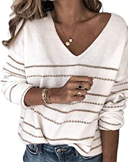 Macondoo Womens Long Sleeve Knit Stripe V Neck Classic Jumper Sweater